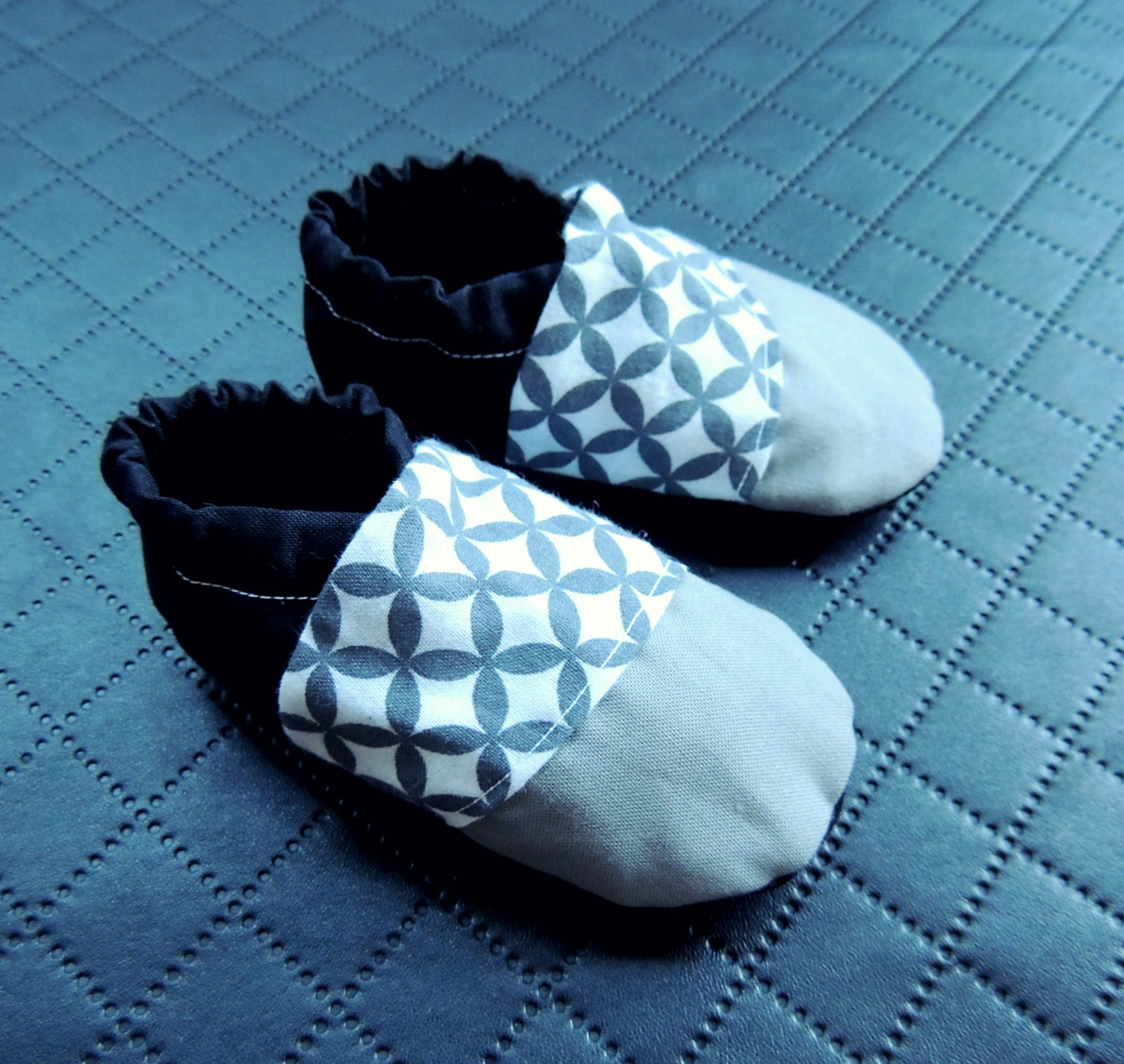 Grey Black White Cotton Baby Moccasin Shoes Oh Baby Monochrome