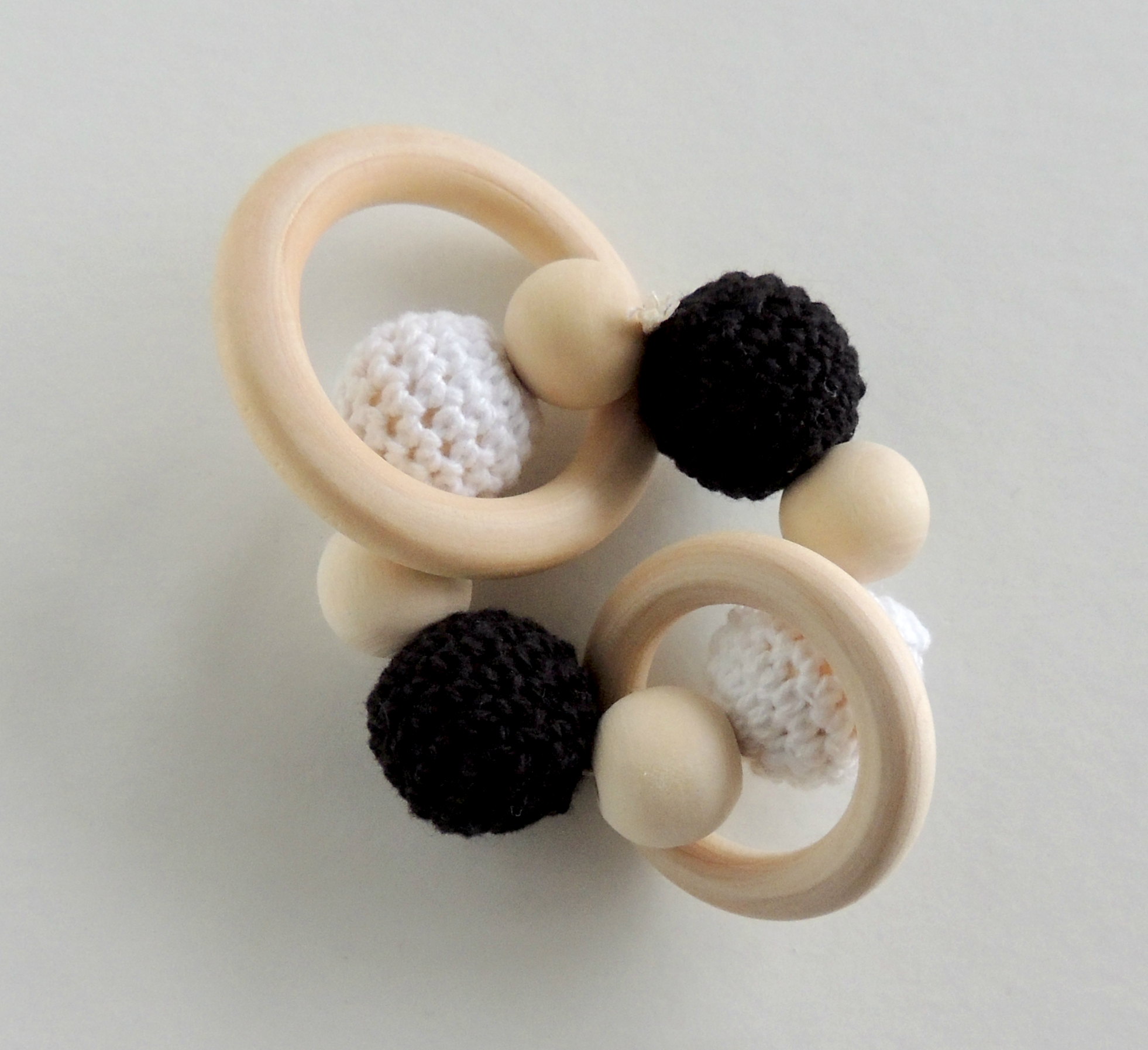 Wooden Teether With Black White Crochet Beads Amp Double