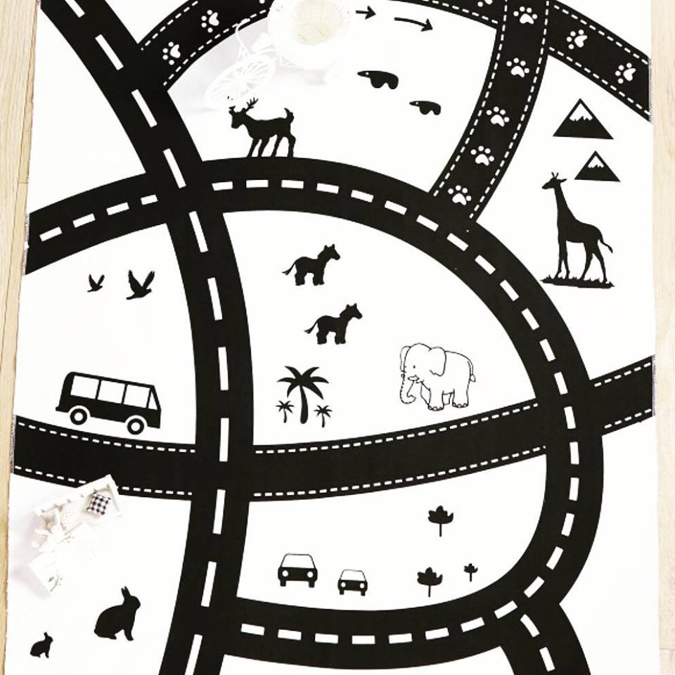 Kids Road And Animal Play Mat / Adventure Rug