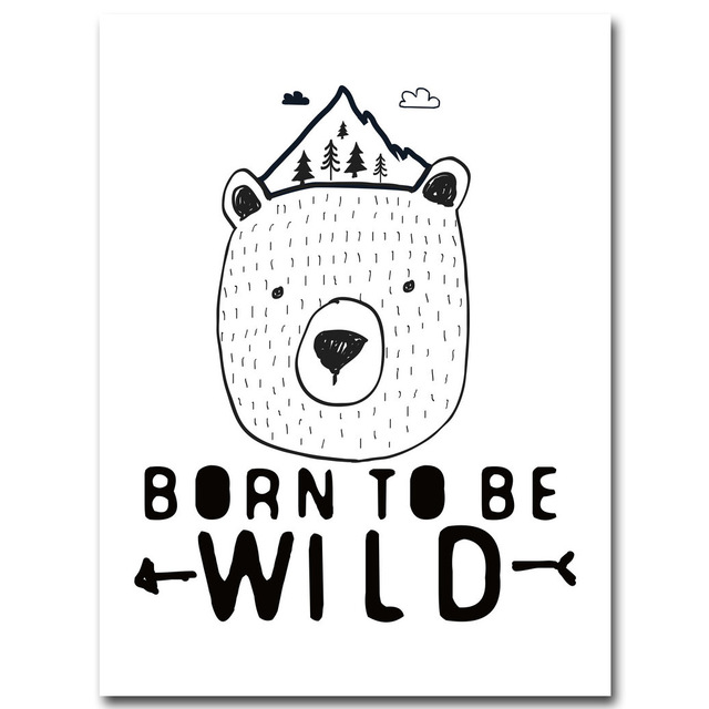 Born To Be Wild Monochrome Nursery Wall Art Kids Room Decor